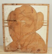 Vintage abstract surrealist portrait hand carving wood wall hanging plaque