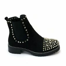 Womens Ladies Chelsea Ankle Boots With Spikes & Studs Size 3-8