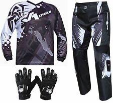 BLACK ADULT MX JERSEY PANTS GLOVES Dirt Bike Gear Off road Motocross BMX MOTOX
