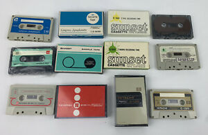 Vintage Cassette Tapes Lot Sunset Hitachi National Sharp C-60 C-120 TWA Airlines