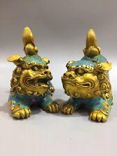 Chinese Antique Cloisonne handmade lion a pair
