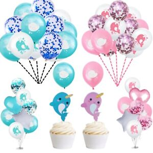 Cartoon Narwhal Latex Foil Confetti Balloons Happy Birthday Party Decor Kids