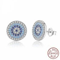 ZARD  Good Luck 925 Sterling Silver Round Evil Eye CZ Crystal Mosaic Earrings