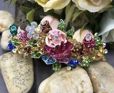 New Gold Tone Flower Rhinestone multi color Hair Clip Barrette ha2#2
