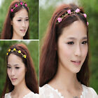 Vintage Rose Flower Head Chain Jewelry Lady Elastic Hair Band Headband Wedding