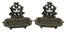 Cast Iron Victorian Soap Dish Set Of 2 Antique Reproduction Brown