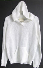 NWT LADIES SHIRT 469 CREAM LOOSE WEAVE SIZE SMALL W/ HOOD V-NECK