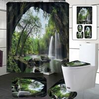US Waterfall Bathroom Decor Shower Curtain+Non-Slip Carpet Set Toilet Cove