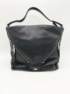 Michael Kors Evie Shoulder Bag Black Pebbled Leather Silver Hardware Authentic