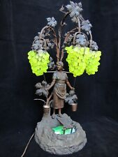 Antique Beautiful Bronze Finish Spelter Girl & Grapes Shade Lamp