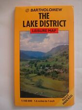 Bartholomew Fold-Out Leisure Map of The Lake District, England w Index of Places