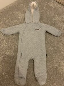 Baby Unisex Ted Baker Grey Quited Pramsuit 0-3 Months