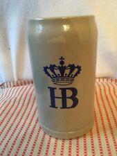 Vintage HB Hofbrauhaus German Beer Stein HB Hofbrau Blue Stoneware Salt Glazed