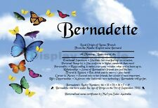 Peronsalised Gift - First Name Meaning Certificate  - Butterflies  Blue