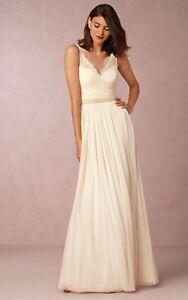 NEW $250 BHLDN Hitherto Fleur Wedding Dress Sleeveless Gown Rehersal ivory