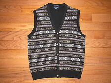 Club Room 100% Cashmere Fair Isle Nordic Button Down Sweater Vest M Mens