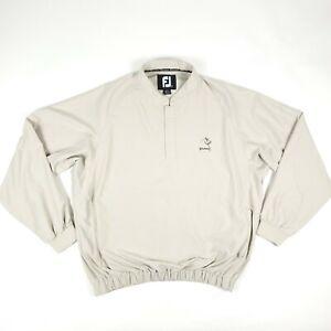 FootJoy FJ Wild Horse Golf Beige Snap Button Windbreaker Pullover Size Large