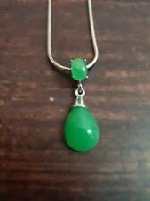 Genuine Green Jade 925 sterling silver drop pendant