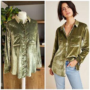 Maeve Anthropologie Size UK 12 Festive Green Velvet Karina Shirt Top VGC