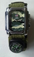 US ARMY QUARTZ WRISTWATCH Water Resistant With Compass