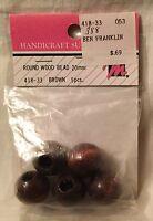 Mangelsen's Brown Round Wood Beads 20mm 5 Pieces #418-33