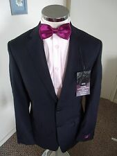 """M&S Travel Men's Navy Suit Jacket C38"""" Long Regular Fit Wool with Stretch BNWT"""