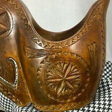 Vintage Hand Carved Wood Ceremonial Wedding Shepherd Cup Yugoslavia Folk Art