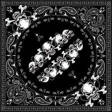 Motorcycle Heavy Metal Skull Row Handkerchief Bandana Headgear Black and Silver