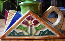 Antique vintage ART DECO pottery CHAMBER STICK CANDLE HOLDER geometric