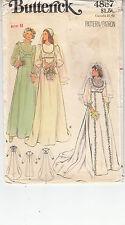 Wedding Bridesmaid Dresses Bridal 1970s Simplicity Sewing Pattern 4887 Size 8
