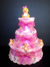 "3Tier 12"" Duckie Girl Baby Shower Gifts Diaper Cake Unique Elegant Centerpieces"
