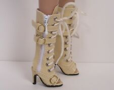 """Cream Lace Up Sandal Boots Doll Shoes For 16"""" Tyler Wentworth (Debs)"""