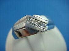 14K WHITE GOLD MEN'S PRINCESS CUT DIAMOND WEDDING BAND-RING 10.3 GRAMS SIZE 9.25