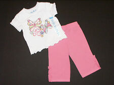 Childrens Place Infant Girls Size 6-9M Pink Butterfly Pants & Top 2-Piece Outfit