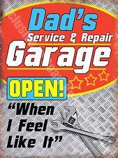 Dad's Service & Repair Garage, Funny/Humorous Vintage, Car, Large Metal Tin Sign