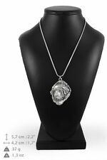 Tibetan Mastiff - silver plated necklace with a dog on silver chain, Art Dog Usa