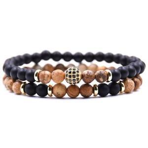 Men's Bracelet Stone Onyx Black Braun 2er Set Natural Stone Pearl Bracelet B3287