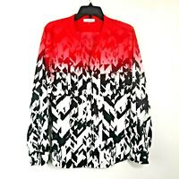 Calvin Klein Button Front Top Womens Sz L Black Red Ombre Semi Sheer Blouse