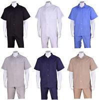Men's 2 piece Casual Linen Walking Suit Short Sleeve Shirt w/ Pants 2806