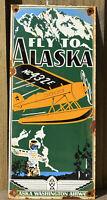 VINTAGE ALASKA WASHINGTON AIRWAY PORCELAIN METAL SIGN GAS FLY PACIFIC NORTH WEST