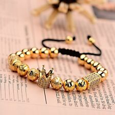 Luxury Hot Men's Micro Pave Zircon Crown Braided Adjustable Bracelets Jewellery