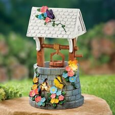 Hand-Painted Solar Powered Floral Water Well Garden Statue