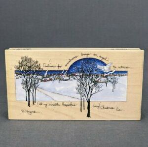 Rubber Stamp Ambrosia by D. Morgan Christmas Eve Winter Scene Hollidays 80241