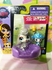 LITTLEST PET SHOP MOM AND BABY POODLE DOG WITH BED AND BABY BOTTLE #3849 #3850
