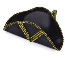 MASQUERADE FANCY DRESS PARTY TRICORN BLACK FELT HAT WITH GOLD BRAID FOR NEW