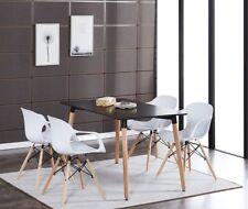 4 x Alecia Tub Eiffel Armchair and Black Dining Table Set Cafe Restaurant Salon
