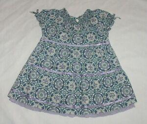 EUC Janie & Jack Girls LAVENDER SKIES Purple & Teal Smocked Dress 0-6 M VHTF