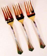 3 Golden Flair Salad Forks Fork International Stainless Gold Electroplate 18-8