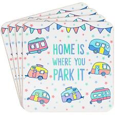 Set Of 4 Caravan Home Is Where We Park It Tea Coffee Table Coasters