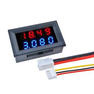 """0.28"""" 4-Bit DC 0-100V 10A Voltmeter Ammeter Blue+Red LED Amp Volt Meter Gauge"""
